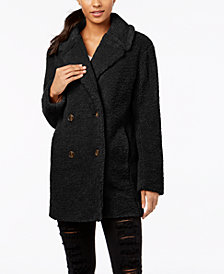 kensie Double-Breasted Faux-Fur Teddy Coat
