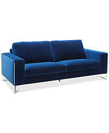 "CLOSEOUT! Cipolia 85"" Fabric Sofa with Metal Inlays, Created For Macy's"