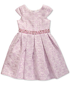 Sweet Heart Rose Little Girls Floral Jacquard Dress