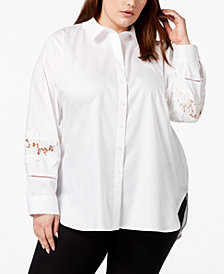 Calvin Klein Plus Size Cotton Lace-Trim Blouse