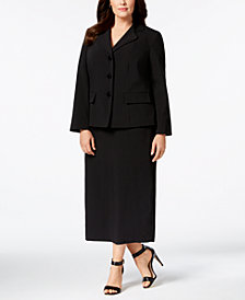 Le Suit Plus Size Three-Button Column Skirt Suit