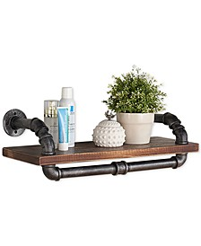 """24"""" Isadore Industrial Pine Wood Floating Wall Shelf in Gray and Walnut Finish"""