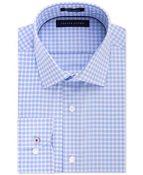 27b63044 Tommy Hilfiger Men's Slim Fit TH Flex Collar Performance Blue Gingham Dress  Shirt, Created for