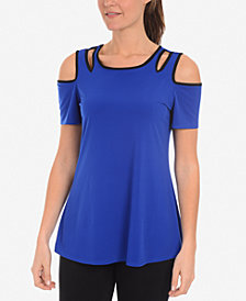 NY Collection Cold-Shoulder Cutout Top