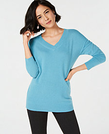 Charter Club Pure Cashmere Oversized V-Neck Sweater, Created for Macy's