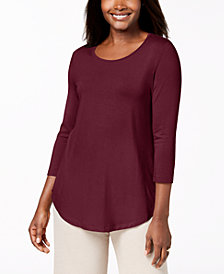 JM Collection Petite Scoop Neck Top, Created for Macy's
