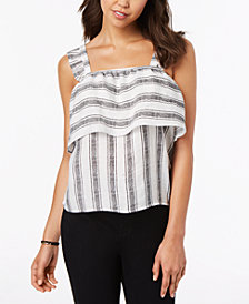 Almost Famous Juniors' Striped Ruffle-Trimmed Tank Top