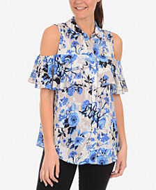NY Collection Printed Cold-Shoulder Button-Front Blouse