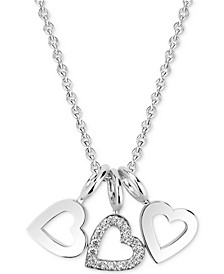 """Diamond Accent Triple Heart Charm Pendant Necklace in 14k Gold-Plated Sterling Silver, 16"""" + 2"""" extender"""