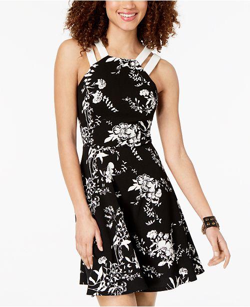 Black Strap Juniors' Darlin B Dress Printed Ivy Double wBfYqx41