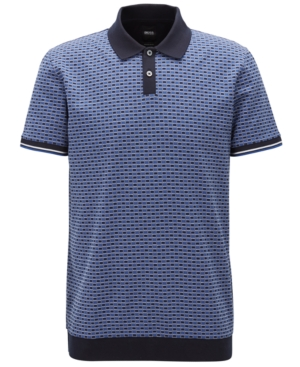 Boss Men's Micro-Patterned Cotton Polo Shirt