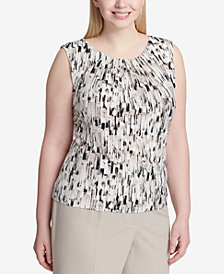 Calvin Klein Plus Size Printed Pleated Shell