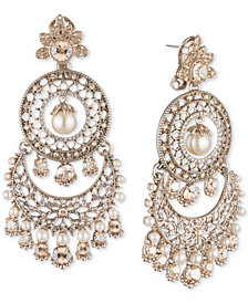 Marchesa Gold-Tone Crystal & Imitation Pearl Tiered Chandelier Earrings