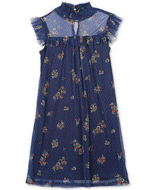 Speechless Big Girls Floral-Print Dot-Mesh Dress