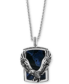 "EFFY® Men's Pietersite Eagle 22"" Pendant Necklace in Sterling Silver"