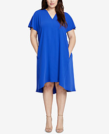 RACHEL Rachel Roy Trendy Plus Size Coretta Cold-Shoulder Shift Dress