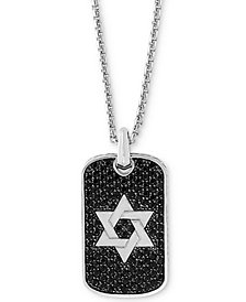"EFFY® Black Sapphire Star of David Dog Tag 22"" Pendant Necklace (2 ct. t.w.) in Sterling Silver"