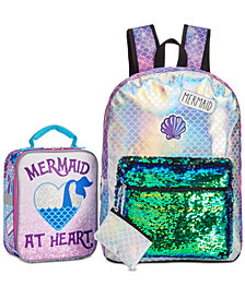 Little & Big Girls Mermaid Backpack with Coin Purse	& Accessory Innovations Mermaid Lunch Bag