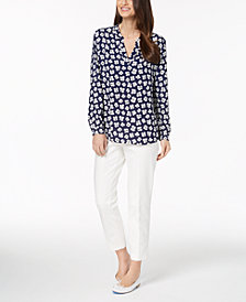 Anne Klein Floral-Print Blouse & Slim-Fit Pants