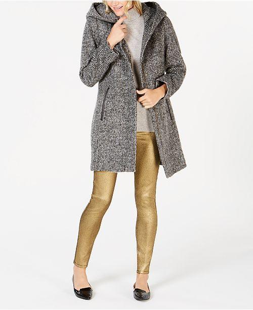 Cole Haan Faux-Leather-Trim Hooded Walker Coat