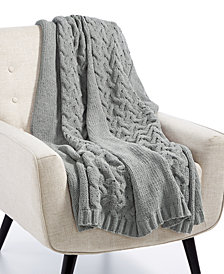 "Lacourte Luxury Heathered Sweater-Knit 50"" x 60"" Throw, Created for Macy's"