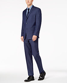 Marc New York by Andrew Marc Men's Modern-Fit Stretch Blue Windowpane Suit