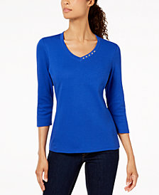 Karen Scott Petite Button-Neck Top, Created for Macy's