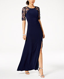 Adrianna Papell Embellished Lace-Contrast Gown