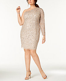 Adrianna Papell Plus Size Embellished One-Shoulder Gown