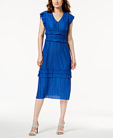 Taylor Pleated & Tiered Midi Dress