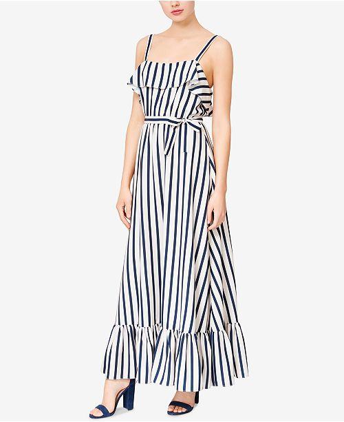 Betsey Striped Ruffled White Dress Maxi Navy Johnson zHAz6nOTq