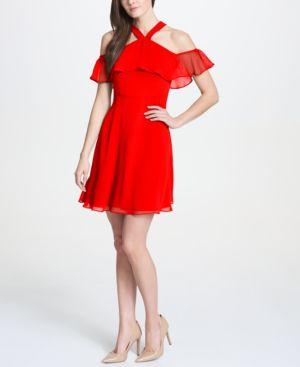 KENSIE COLD-SHOULDER FLUTTER CHIFFON DRESS