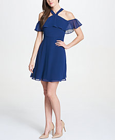 kensie Cold-Shoulder Flutter Chiffon Dress