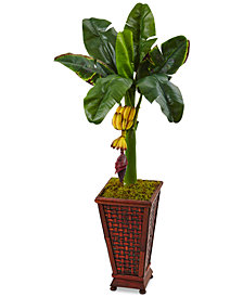 Nearly Natural 3.5' Banana Artificial Tree in Wooden Planter