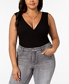 Soprano Trendy Plus Size V-Neck Bodysuit