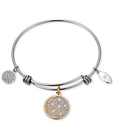 "Unwritten Two-Tone ""Never Stop Looking Up"" Glitter Bangle Bracelet in Gold-Tone & Stainless Steel"