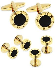 Sutton by Men's Gold-Tone 3-Pc. Set Stone Cufflinks & Tuxedo Buttons
