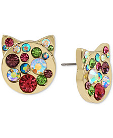 Betsey Johnson Gold-Tone Crystal Cat Head Stud Earrings
