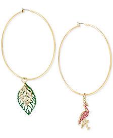 Betsey Johnson Gold-Tone Crystal Flamingo & Leaf Mismatch Hoop Earrings