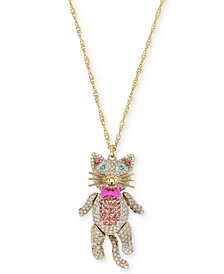 "Betsey Johnson Gold-Tone Pavé Cat Pendant Necklace, 40"" + 3"" extender"