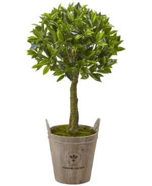 Nearly Natural 38 Sweet Bay Artificial Topiary with European Barrel Planter