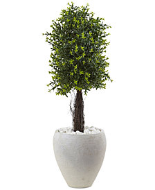 "Nearly Natural 40"" Ixora UV-Resistant Indoor/Outdoor Topiary with White Planter"