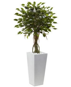 Nearly Natural 52 Ficus UvResistant IndoorOutdoor Artificial Tree in White Planter