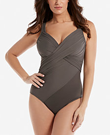 Miraclesuit Rock Solid Twist-Front Allover Slimming One-Piece Swimsuit
