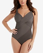 e288d5c147f Miraclesuit Rock Solid Revele Twist-Front Allover Slimming One-Piece  Swimsuit