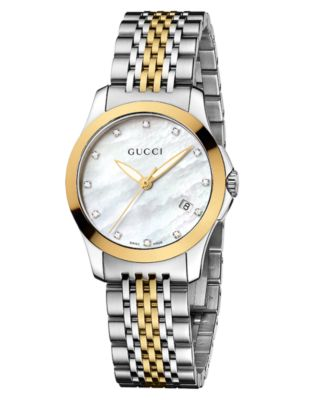 7b4fc9512ec Gucci Women s Swiss G-Timeless Two Tone Diamond Accent Stainless Steel  Bracelet Watch 27mm YA126513   Reviews - Watches - Jewelry   Watches -  Macy s