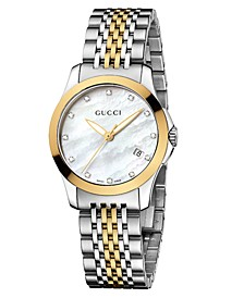 Women's Swiss G-Timeless Two Tone Diamond Accent Stainless Steel Bracelet Watch 27mm YA126513