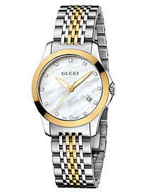 Gucci Women's Swiss G-Timeless Two Tone Diamond Accent Stainless Steel Bracelet Watch 27mm YA126513