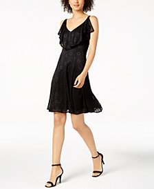 Nine West Ruffled Lace A-Line Dress