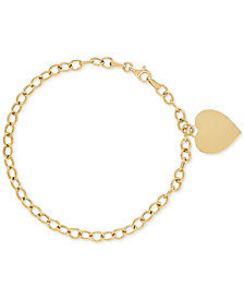 Heart Charm Open Link Bracelet in 10k Gold